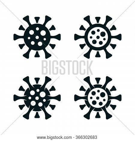 Covid-19 Symbols On White Background. Coronavirus Filled And Outlined Virus Simple Icon Set.