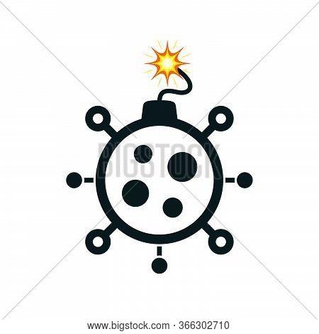 Coronavirus Lit Bomb On White Background. Covid-19 Themed Bomb Icon.