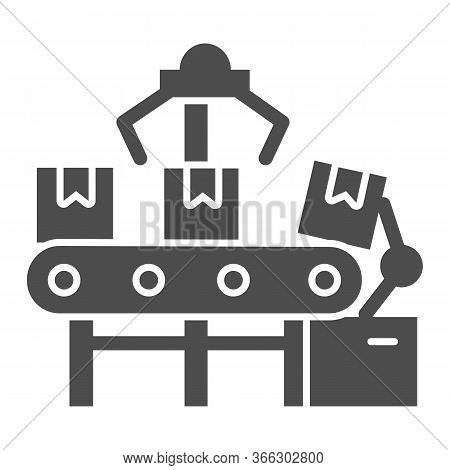 Automated Conveyor And Boxes Solid Icon, Delivery Logistics Symbol, Automatic Conveyor Belt With Par