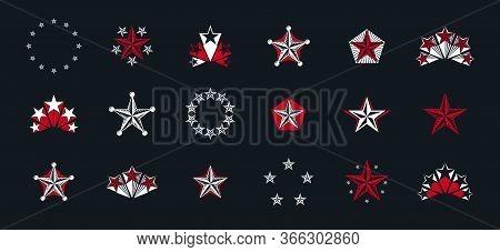 Stars Vintage Heraldic Emblems Vector Big Set, Antique Heraldry Symbolic Badges And Awards Collectio
