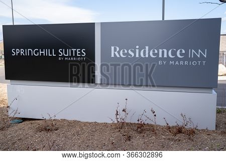 Maple Grove, Minnesota - May 14, 2020: Sign For A Combination Marriott Residence Inn And Springhill