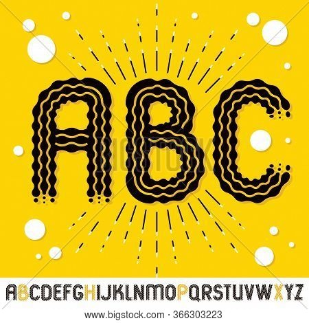 Vector Funky Capital English Alphabet Letters, Abc Collection. Rounded Bold Retro Font, Typescript C