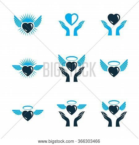 Guardian Angel Vector Conceptual Emblems Collection, Graphic Illustrations For Use In Religious Orga