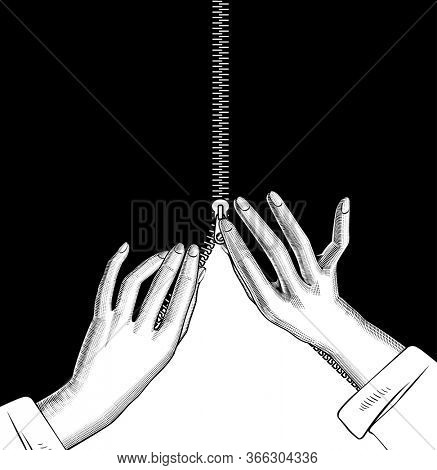 Female hands zipped the slide fastener on black. Linear drawing.