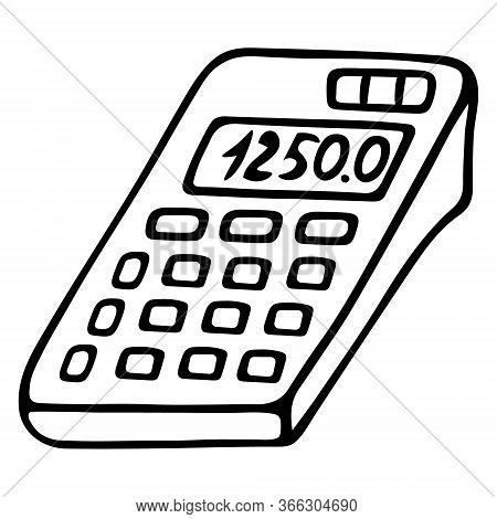 Calculator. Electronic Computing Device For Accounting Calculations. Vector Illustration. Contour On