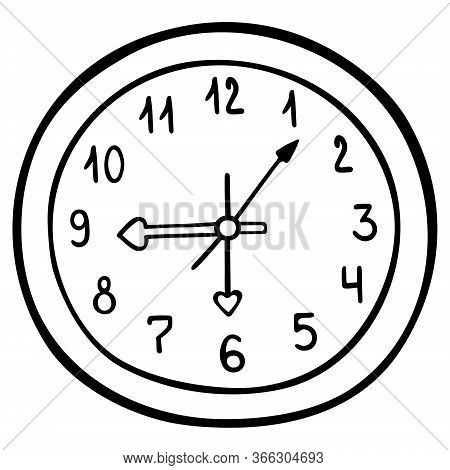 Wall Clock Mechanical. Numbers And Arrows. Vector Illustration. Contour On An Isolated White Backgro