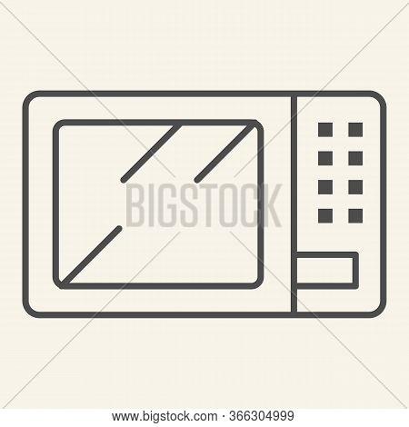 Microwave Thin Line Icon. Board Microwave Oven Symbol, Outline Style Pictogram On Beige Background.