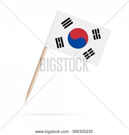 Miniature paper flag South-Korea. Isolated South Korean toothpick flag pointer on white background. With shadow below