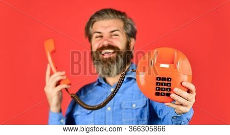 Show Your Brand Off. Businessman Talking On Vintage Phone. Buy New Gadget. Phone Business Concept. B