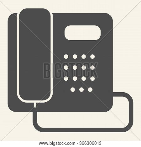 Phone Solid Icon. Hotel Or Office Retro Telephone Symbol, Glyph Style Pictogram On Beige Background.