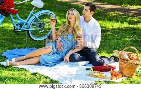 True Love. Romance Concept. Toast. Celebrate Anniversary. Attractive Couple Enjoying Romantic Sunset