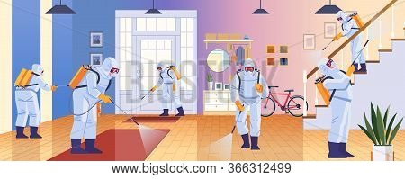 Home Disinfection By Cleaning Service. Prevention Controlling Epidemic Of Coronavirus Covid-2019. Wo