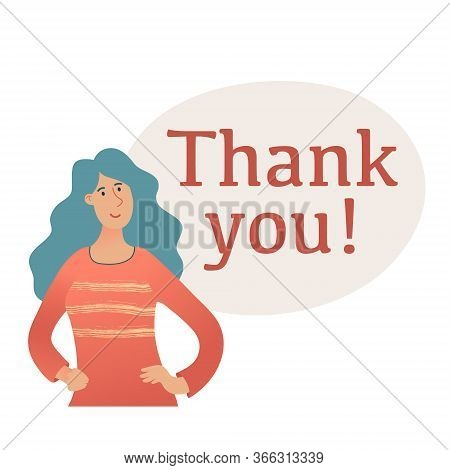 Banner Template With Thank You Text, Lettering And Shoulder Portrait Of Young Pretty Woman With Long