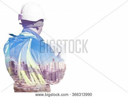 Silhouette Construction Worker In Helmet And Uniform Reads Technical Documentation And Construction