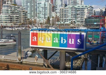 Vancouver, Canada - February 29, 2020: Colorful Sign Of Aquabus Station At Granville Island In Vanco