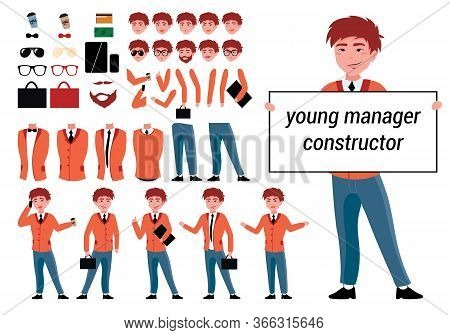 Constructor Manager Character For Your Scenes In Vector. Constructor Character Set With Various View