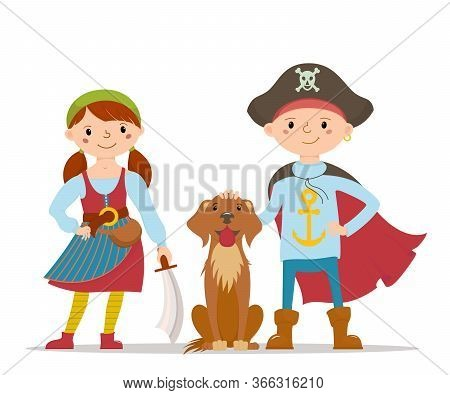 Two Kids, Boy And Girl, Dresses As Pirates, Standing With A Dog, Halloween Fancy Dress, Cartoon Vect