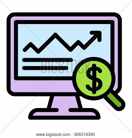 Online Expense Report Icon. Outline Online Expense Report Vector Icon For Web Design Isolated On Whi