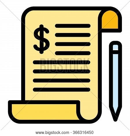 Payroll Paper Icon. Outline Payroll Paper Vector Icon For Web Design Isolated On White Background