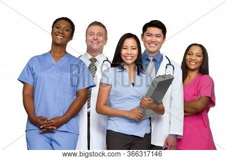Diverse Group Of Medical Healthcare Providers Isolated On White.