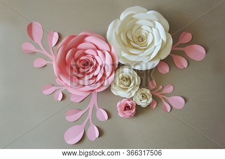 paper flowers. interior decor. the decoration of the walls of the interior. paper decor. flowers in