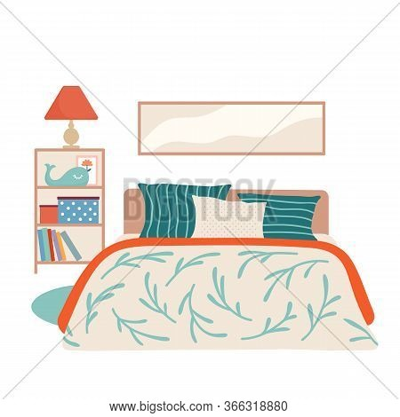 Kid Bedroom Interior With Bed, Shelf Stand, Lamp, Books And Picture In The Wall In Beige, Green And