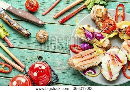 Bruschetta With Grilled Vegetables.