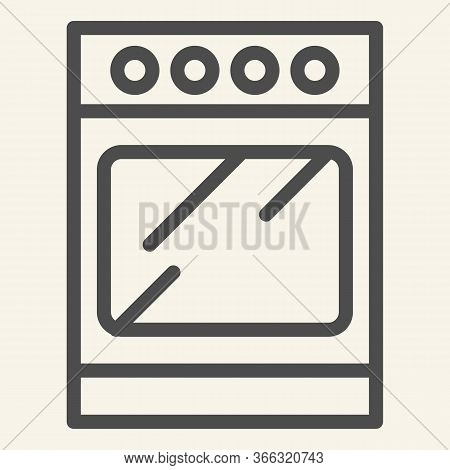 Stove Line Icon. Oven Symbol, Outline Style Pictogram On Beige Background. Kitchen Furniture Sign Fo