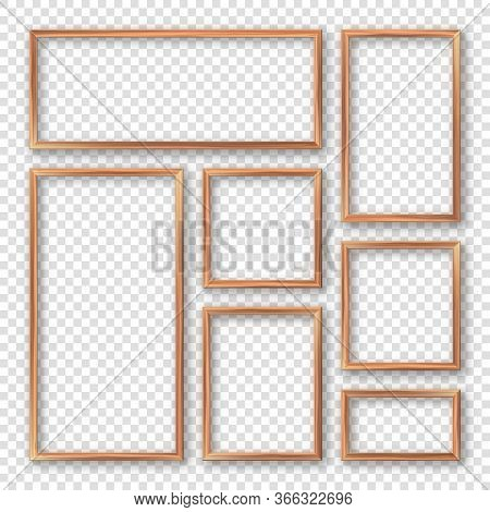 Realistic Blank Wooden Picture Frames Collection. Modern Poster Mockup. Empty Photo Frame With Textu