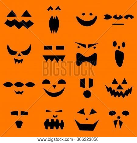Seamless Pattern Of Halloween Scary Pumpkins Faces On Orange Background. Funny, Creepy, Smiling Face