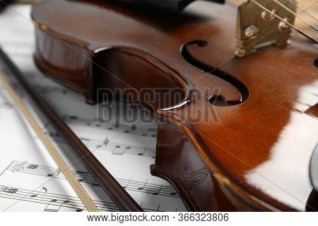 Beautiful Violin, Bow And Note Sheets, Closeup