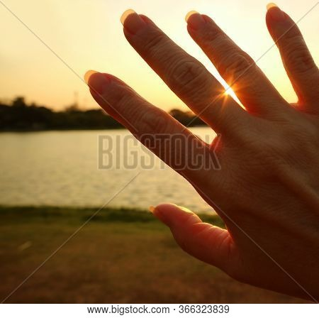 Dazzling Sunlight Shining Through The Fingers Of Woman Hand
