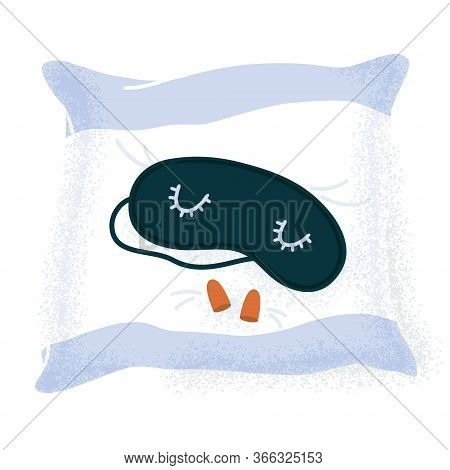 Sleeping Mask And Ear Plugs Lying On A Pillow, Good Night Sleep Essentials, Flat Cartoon Vector Illu