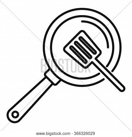Cooking Frying Pan Icon. Outline Cooking Frying Pan Vector Icon For Web Design Isolated On White Bac