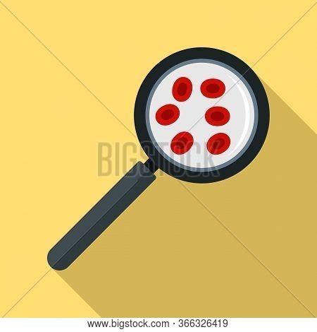 Blood Under Magnifier Icon. Flat Illustration Of Blood Under Magnifier Vector Icon For Web Design