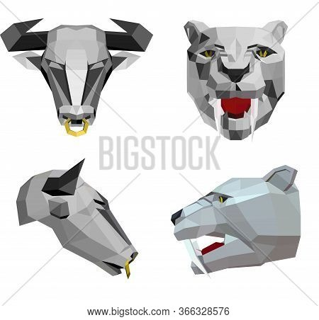 Low Poly Illustration Of Bull Head With A Nose Ring And Saber-toothed Tiger Head, Sketch Vector Grap