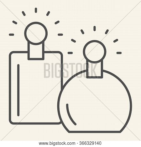 Perfumes Thin Line Icon. Two Perfume Fragrance Bottles Symbol, Outline Style Pictogram On Beige Back