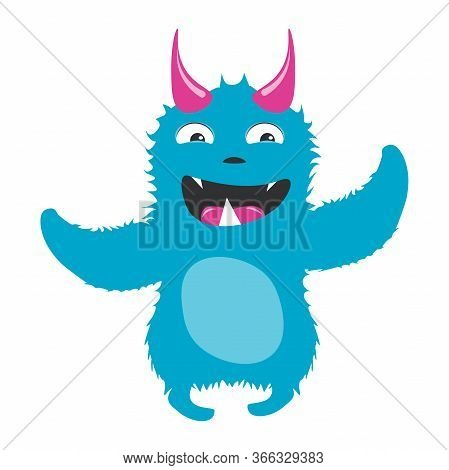 Crazy Monster For Kids Design. Cartoon Happy Monster.