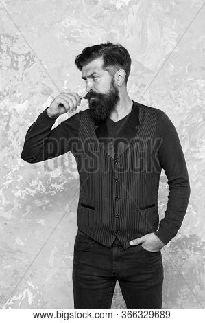 Bearded Hipster With Clean Shaved Temples. Vintage Barber Hairdresser. Male Fashion And Beauty Care.