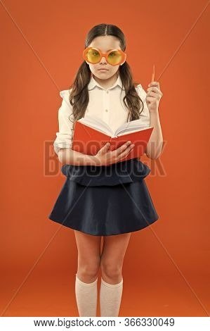 Study Literature. Pupil Likes Study. Small Girl Enjoying Her School Time. Happy Little Schoolgirl Re