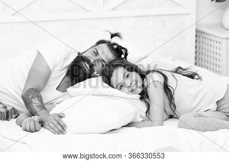 Enjoy Better Sleep At Night. Bearded Man Put Daughter To Sleep. Tired Child And Father Go To Sleep.