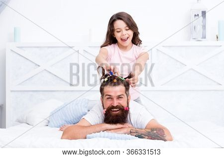 Home Atmosphere. Hairstylist Her Future Career. Father Enjoying Time With Child. Spending Time Toget