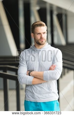 Confident Personality. Confident Sportsman Keep Arms Crossed. Confident Look Of Fit Guy. Athletic Ty