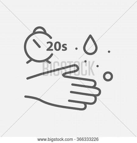 Wash Hands 20s Icon Line Symbol. Isolated Illustration Of Wash Hands 20s Icon Sign Concept For Your