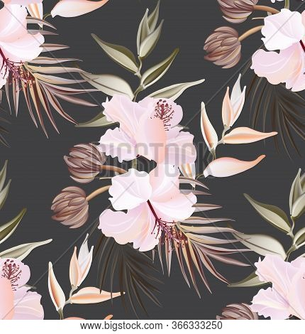 Hibiscus Summer Seamless Pattern, Exotic Plant Texture. Hawaiian Fabric Wallpaper. Spring Textile Dr