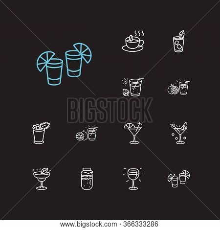 Cocktails Icons Set. Red Wine And Cocktails Icons With Sidecar Cocktail, Mint Julep And Margarita Co
