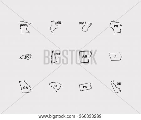 Cartography Icons Set. America And Cartography Icons With New Hampshire, Wisconsin And Usa Map. Set