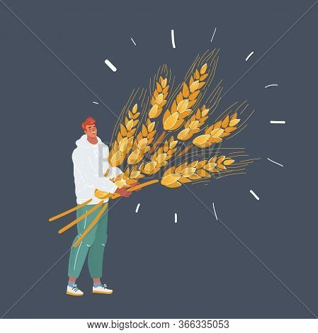 Illustration Of Man With Wheat With Big Sheaf Of Wheat.