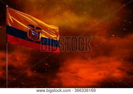 Fluttering Ecuador Flag Mockup With Blank Space For Your Data On Crimson Red Sky With Smoke Pillars