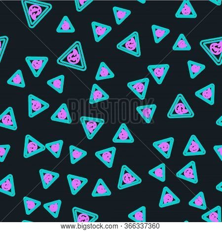 Line Fire Flame In Triangle Icon Isolated Seamless Pattern On Black Background. Warning Sign Of Flam